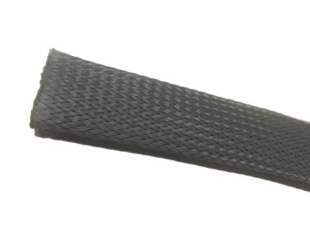 RS PRO Expandable Braided PET Grey Cable Sleeve, 12mm Diameter