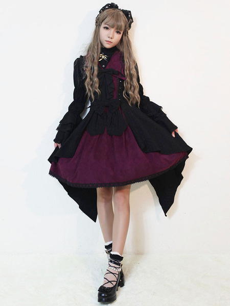 Milanoo Gothic Lolita Dress JSK Dark Night Poetry Bow Lolita Jumper Skirt Original Design