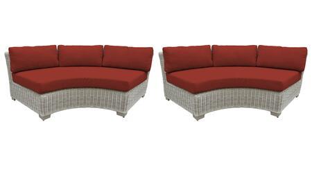 TKC038b-CAS-DB-TERRACOTTA Curved Armless Sofa 2 Per Box - Beige and Terracotta