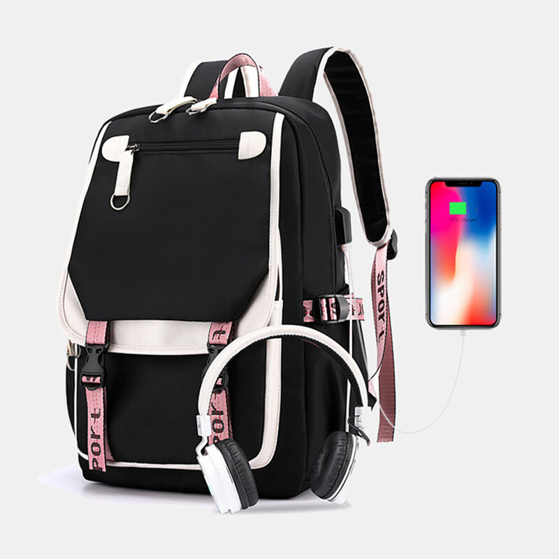Women Printing USB Charging Large Capacity Backpack Student School Bag