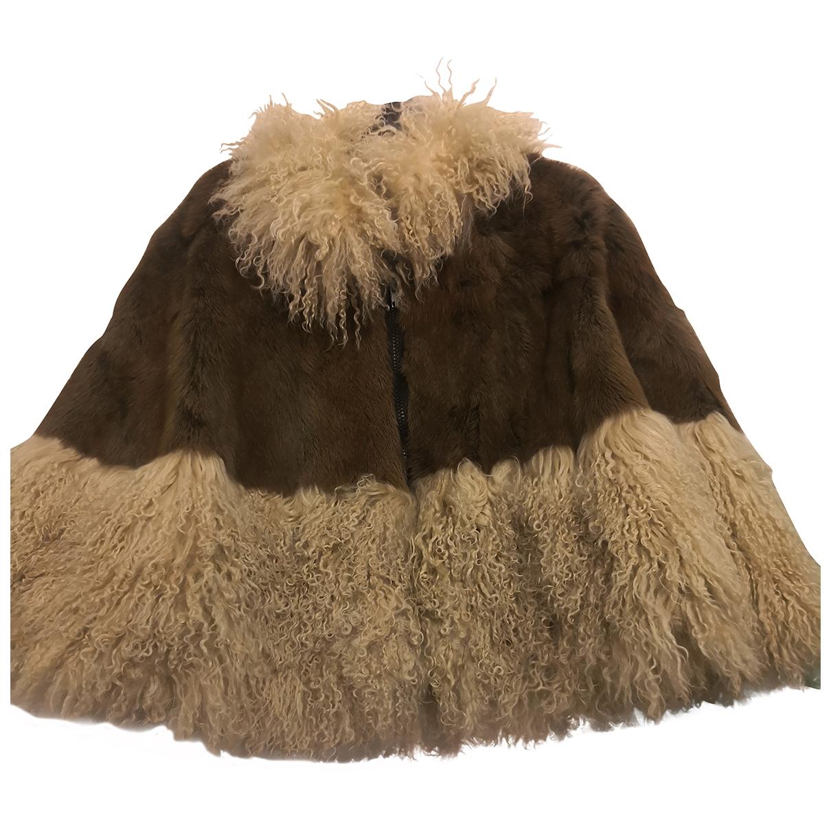 Non Signé / Unsigned Hippie Chic Khaki Mink coat for Women M International
