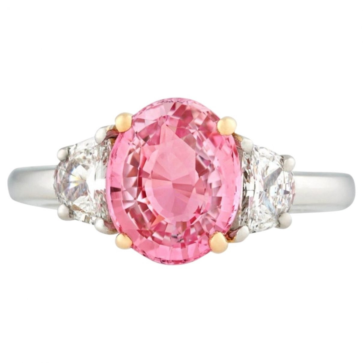 Non Signe / Unsigned Saphir Ring in  Rosa Weissgold