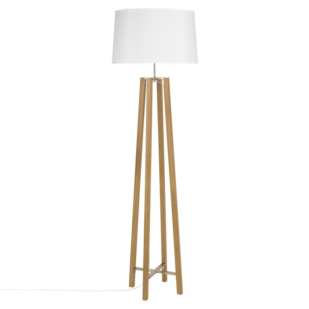 Dreifuss-Stehlampe aus Eichenholz mit weissem Lampenschirm, H160