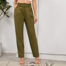 Buckle Belted Slant Pocket Pants