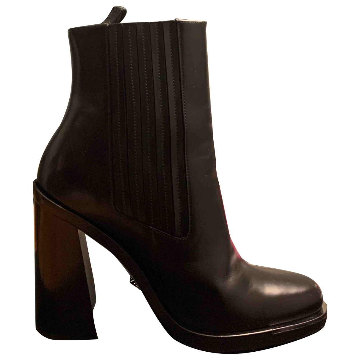 Versace \N Black Leather Ankle boots for Women 38 EU