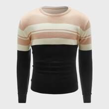 Guys Round Neck Colorblock Sweater