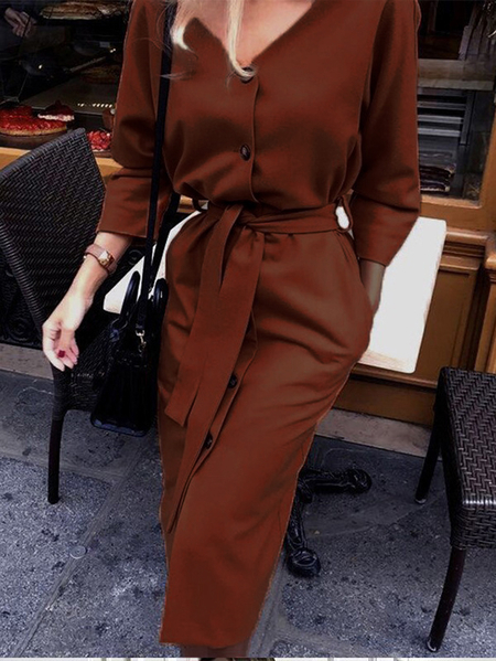 Yoins Casual Button Belted Lace-up V-neck Long Sleeves Midi Dress