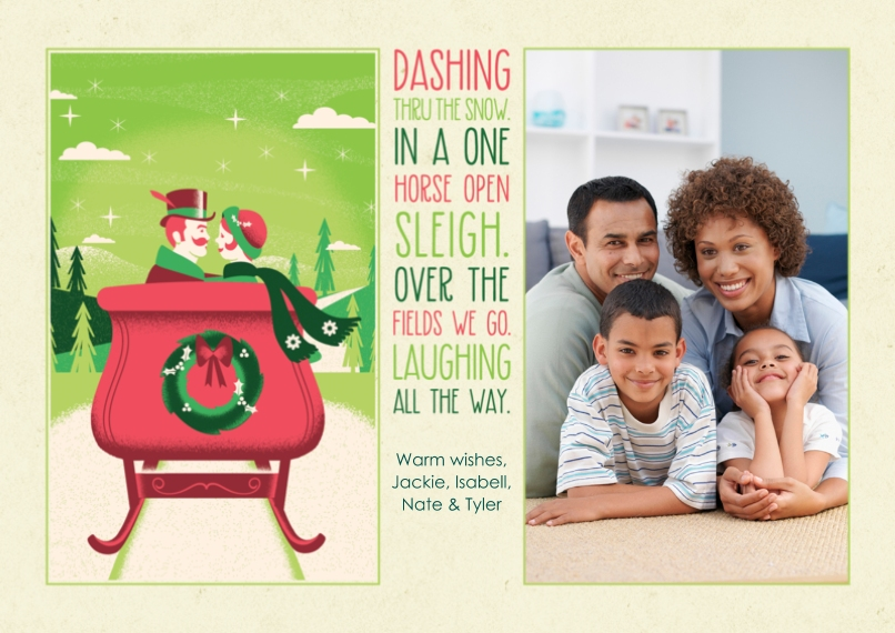 Christmas Photo Cards Flat Glossy Photo Paper Cards with Envelopes, 5x7, Card & Stationery -Dashing Through the Snow
