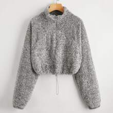 Drawstring Hem Zip Half Placket Teddy Sweatshirt