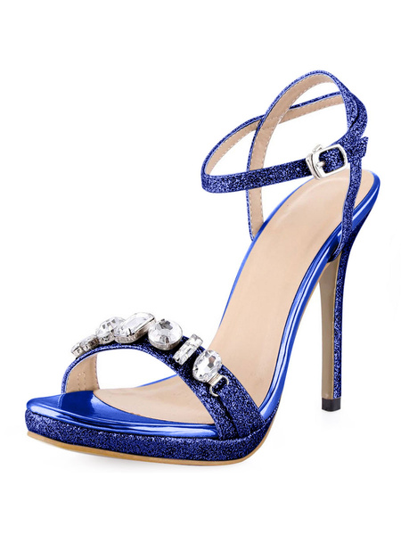 Milanoo High Heel Sandals Womens Sequined Open Toe Slingback Stiletto Heels Sandals with Rhinestones