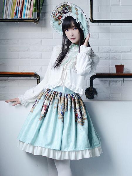 Milanoo Gothic Lolita Cap Goddess Cross Light Green Printed Bow Lace Lolita Bonnet