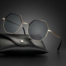 Men Geometric Shaped Metal Frame Sunglasses