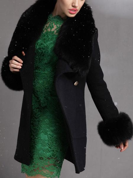 Milanoo Abrigo para mujer Piel sintetica Retro Abrigo de lana negro