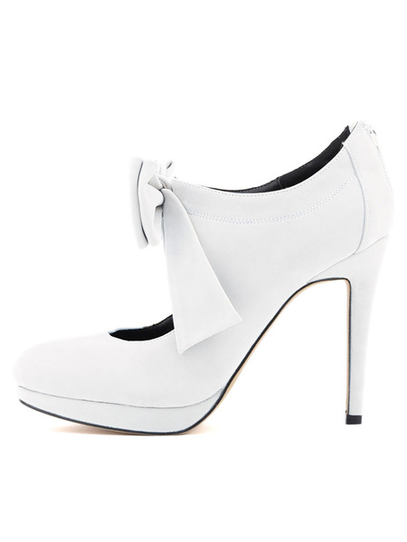 Milanoo Black High Heels Nubuck Round Toe Bow Stiletto Pump Shoes For Women