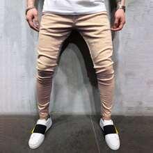 Maenner Einfarbige Schmale Jeans