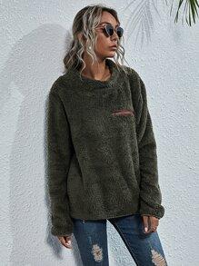 Zip Front Teddy Sweatshirt