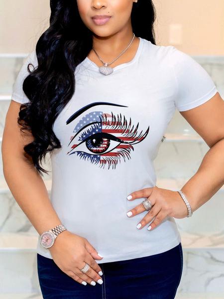 Milanoo Camiseta de mujer White Jewel Neck Camiseta de algodon de poliester con estampado de bandera de EE. UU. Para mujer