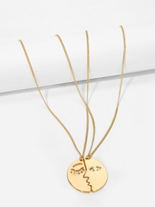 Face Design Pendant Couple Necklace 2pcs