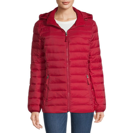 St. Johns Bay Hooded Packable Lightweight Puffer Jacket, Small , Red