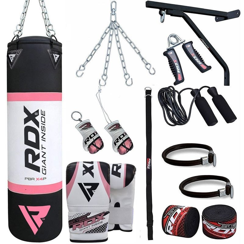 RDX X2 Set Saco de Boxeo Relleno 4 pies Rosa Gimnasio en Casa 17 pzas