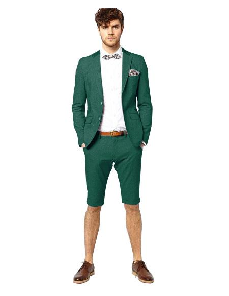 Green Notch Lapel Suit Single Breasted