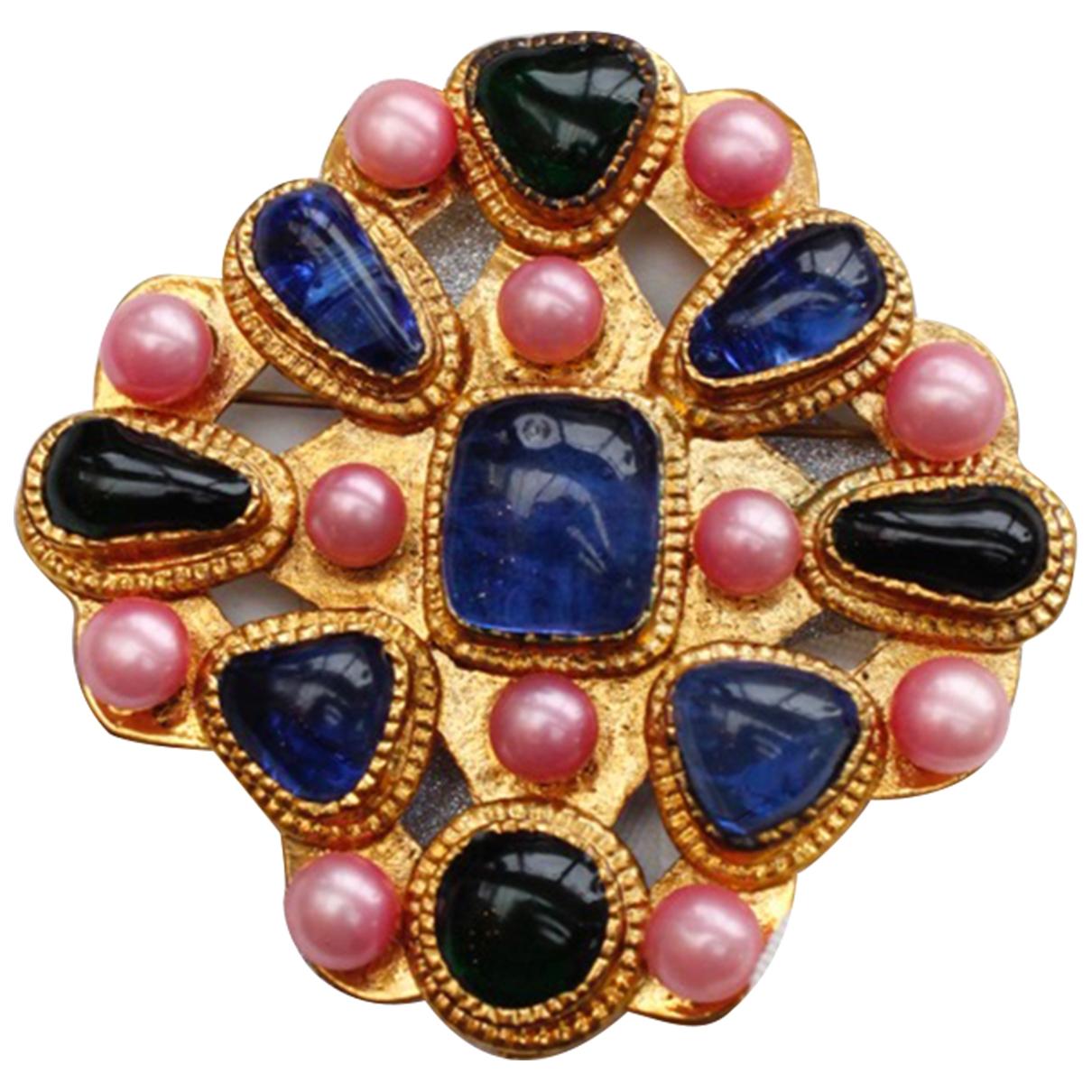 Broche Baroque en Metal Multicolor Chanel