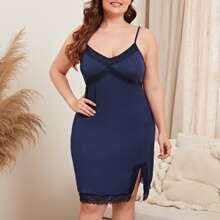 Plus Contrast Lace Side Split Strappy Night Dress