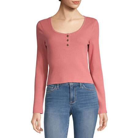 Arizona Womens Henley Neck Long Sleeve Henley Shirt -Juniors, Large , Pink
