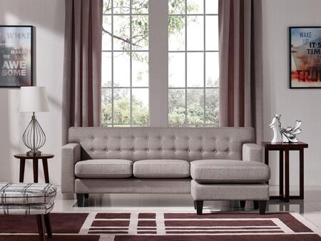 Divani Casa Tawny VGMB-1667-BRN 2-Piece Living Room Set with Sofa and Ottoman in Brown and Grey