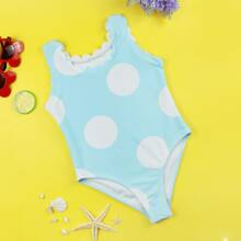 Toddler Girls Polka Dot Scallop One Piece Swimsuit