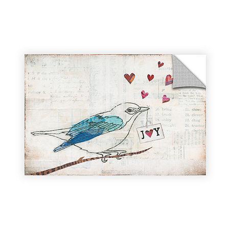 Brushstone Love Birds I Joy Removable Wall Decal, One Size , Gray