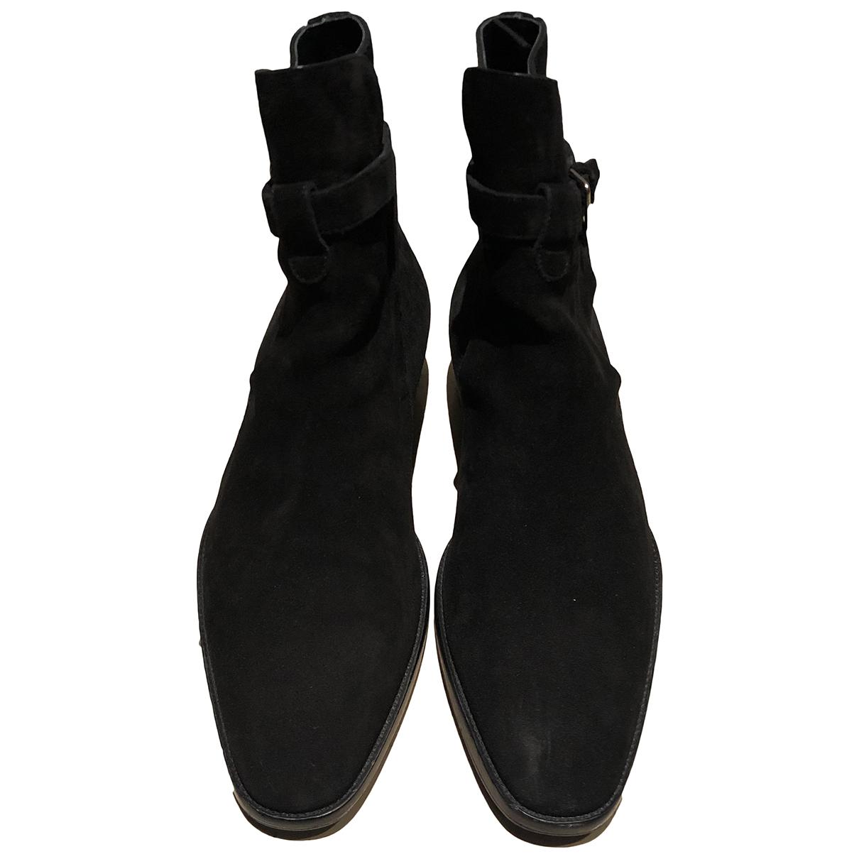 Saint Laurent Wyatt Jodphur Black Suede Boots for Men 41 EU