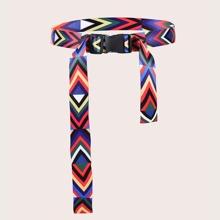 Cinturon de cinta con estampado geometrico