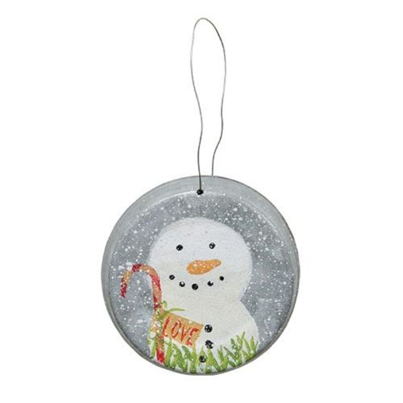 *Love Snowman Metal Lid Ornament (Grey)
