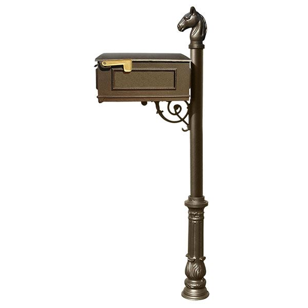 Lewiston Equine Mailbox with Post, Horsehead Finial, and Ornate Base, Bronze