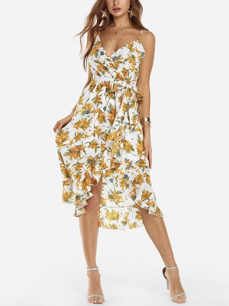 Yoins White Random Floral Print V-neck Sleeveless High-waisted Mini Dress