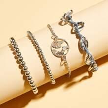4pcs Shell Decor Beaded Bracelet