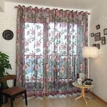 Flower Print Eyelet Sheer Curtain 1pc