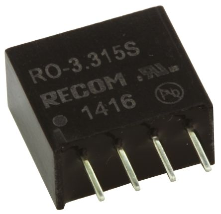 Recom RO 1W Isolated DC-DC Converter Through Hole, Voltage in 2.97 → 3.63 V dc, Voltage out 15V dc