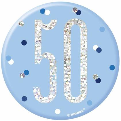 Birthday Glitz Blue & Silver Birthday Badge, 1ct - Age 50