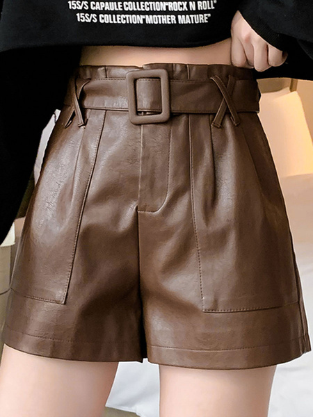 Milanoo Shorts For Women Casual Pockets Black PU Leather Casual Shorts
