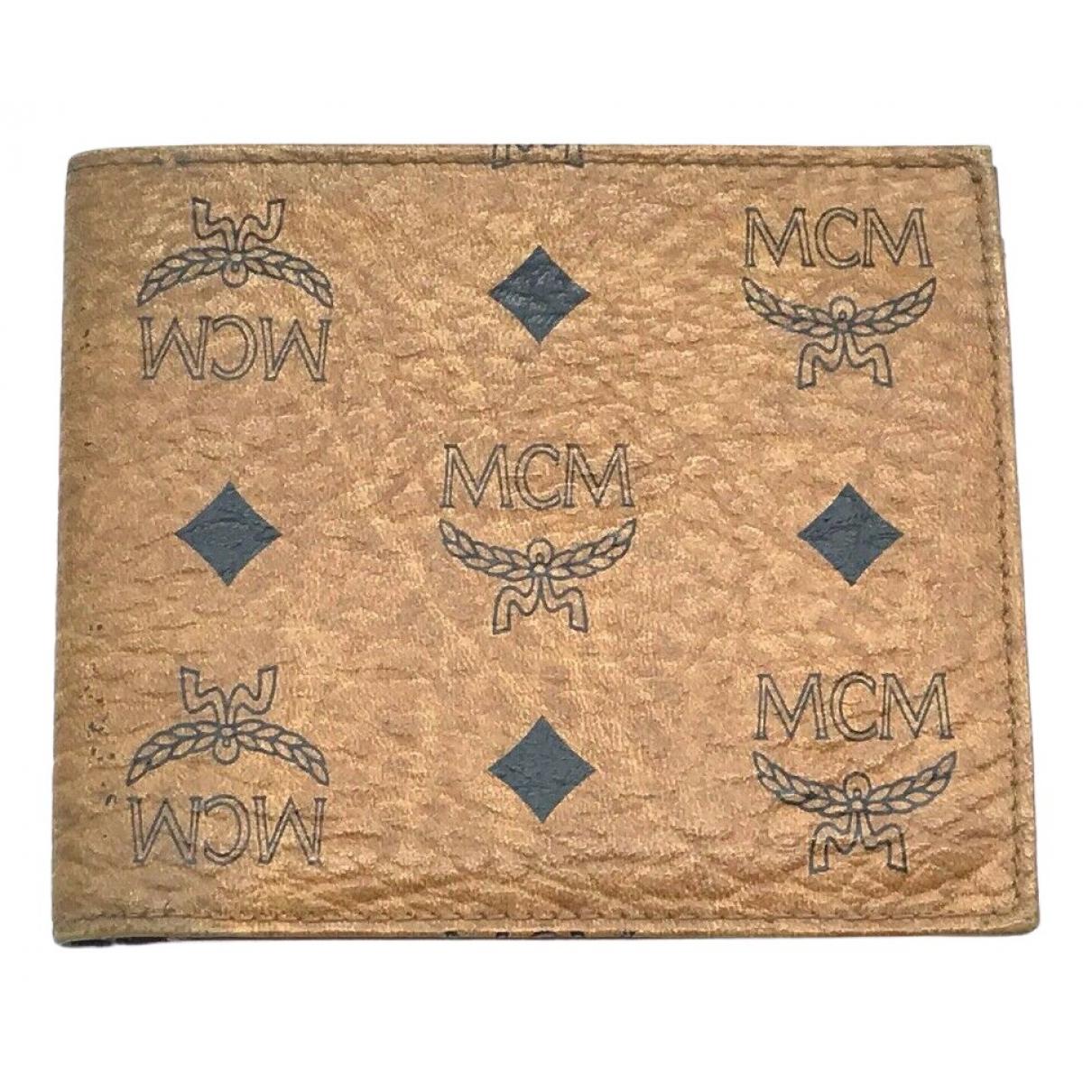 Mcm - Portefeuille   pour femme en cuir - camel