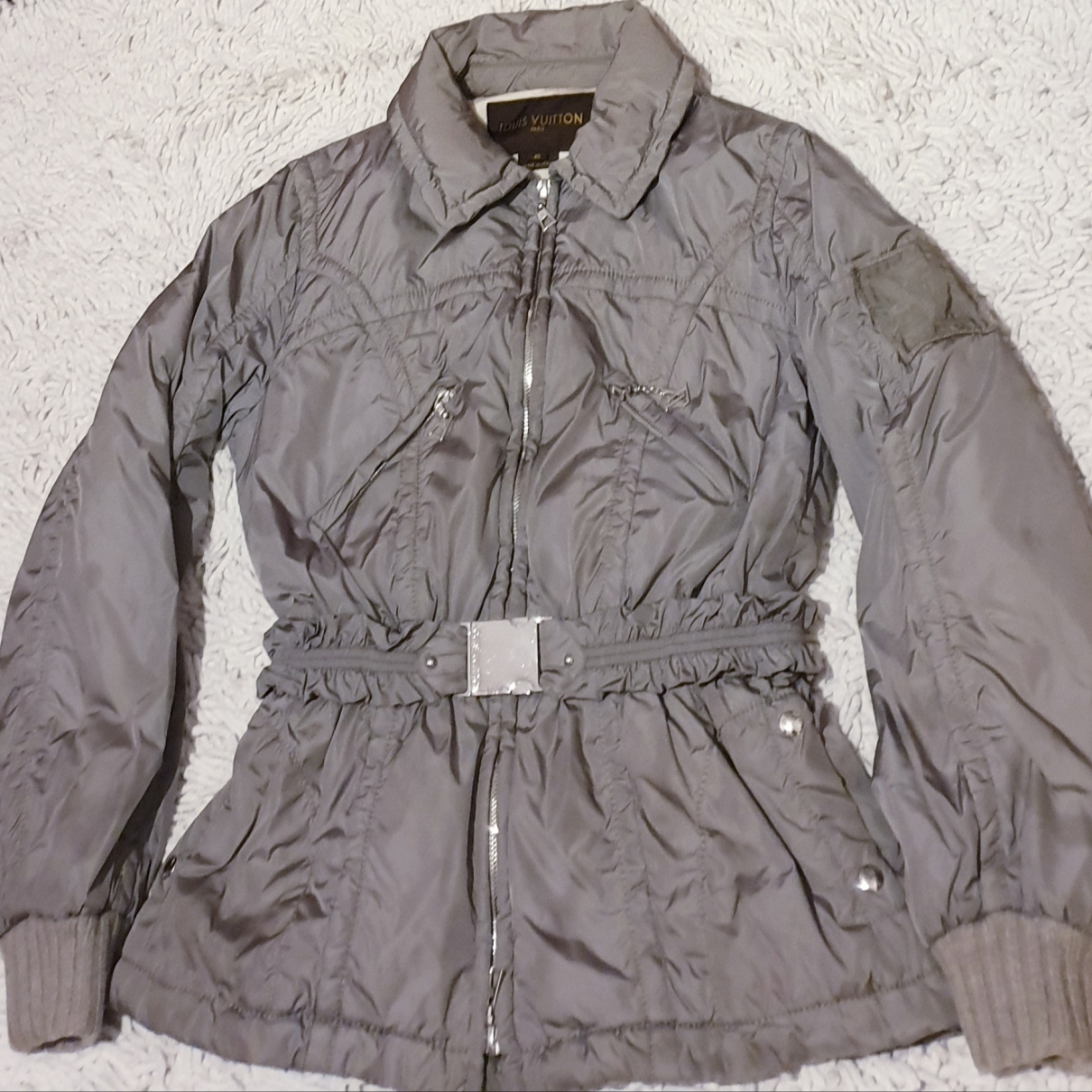 Louis Vuitton \N Grey Leather jacket for Women 40 IT