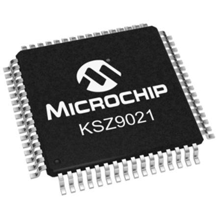 Microchip KSZ9021RLI Ethernet Transceiver, 1000BASE-T, 100BASE-TX, 10BASE-T, IEEE 802.3, 1000Mbit/s 1.2 V, 64-Pin LQFP