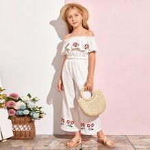 Girls Embroidered Flower Ruffle Bardot Top & Pants Set
