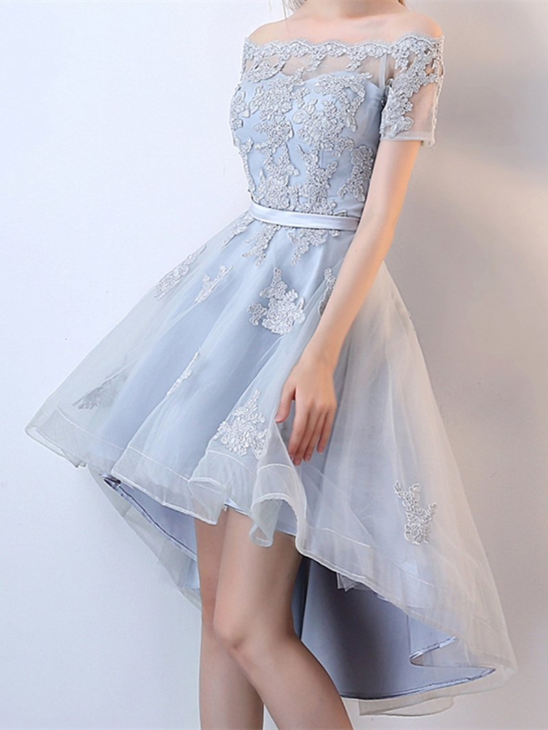 Ericdress A Line Off The Shoulder Applique High Low Homecoming Dress