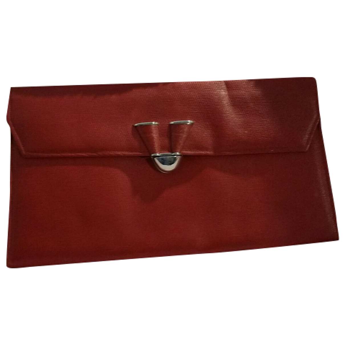 Non Signe / Unsigned \N Clutch in  Rot Leder