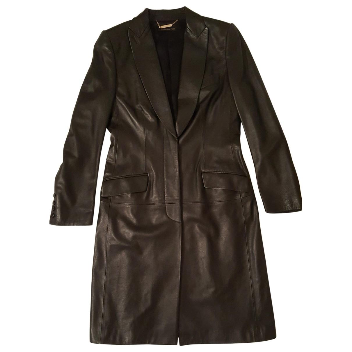 Alexander Mcqueen - Manteau   pour femme en cuir - noir
