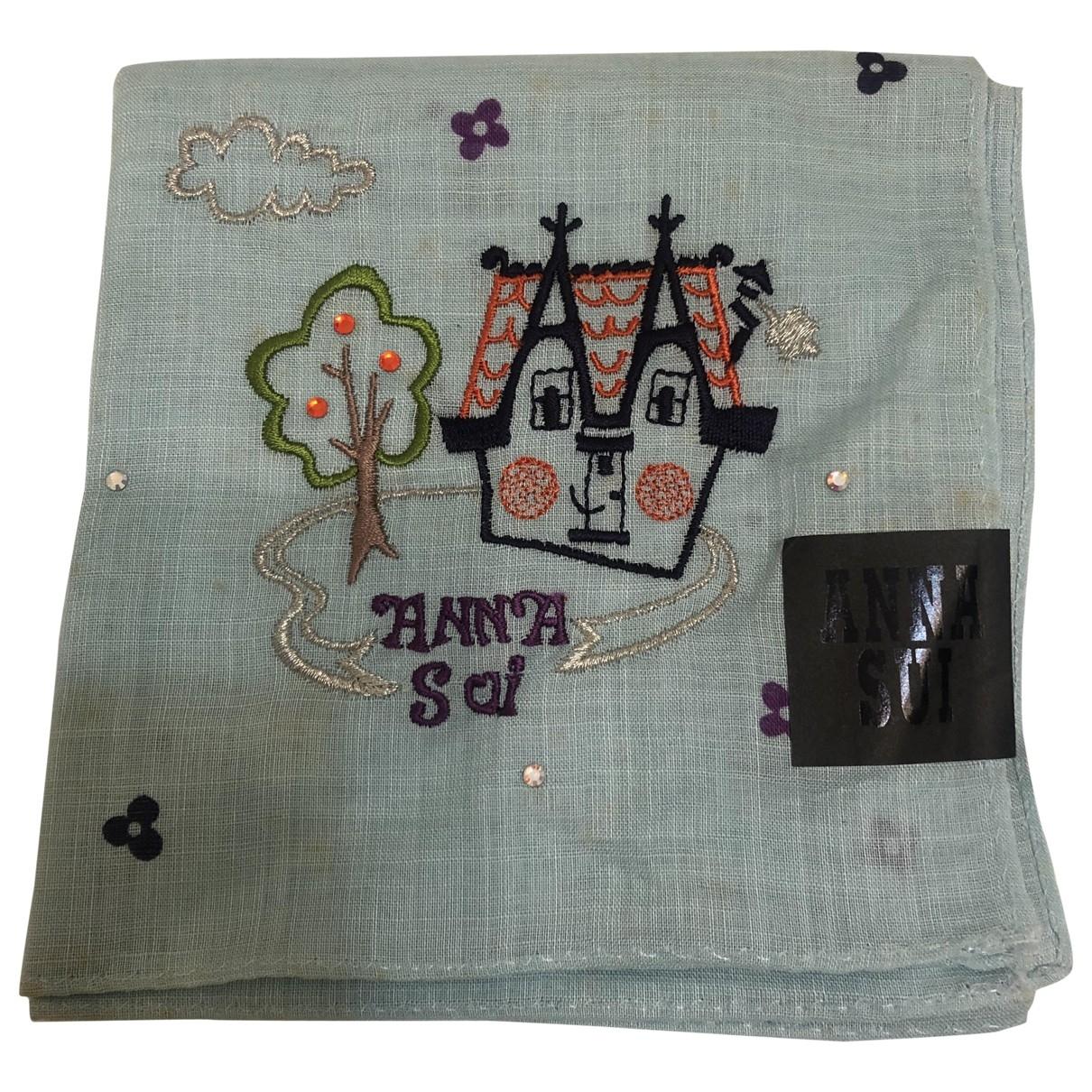 Anna Sui - Foulard   pour femme en coton - turquoise