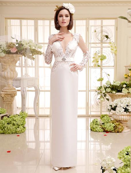 Milanoo Ivory Vintage V-Neck Floor-Length Split Lace Bridal Wedding Dress with Rhinestone